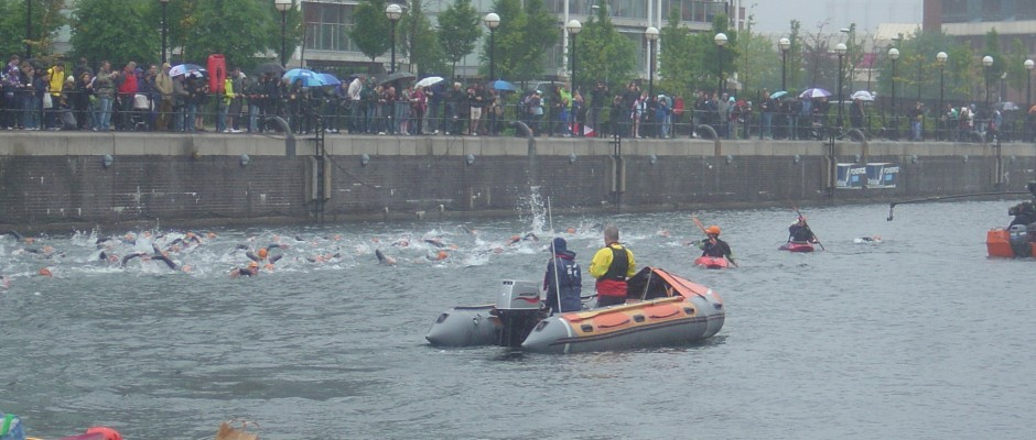 D Class rib providing safety cover at Great Salford swim
